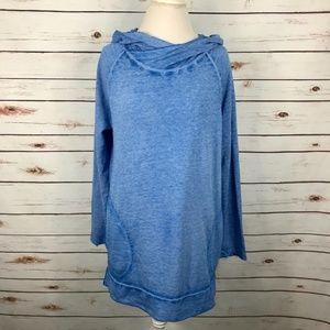 Soft Surroundings Livvie Hoodie Acid Wash Blue